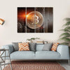 Bitcoin Sign On Perforated Sheet Multi Panel Canvas Wall Art 4 Horizontal / Small / Gallery Wrap Tiaracle