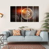 Bitcoin Sign On Perforated Sheet Multi Panel Canvas Wall Art 5 Horizontal / Small / Gallery Wrap Tiaracle