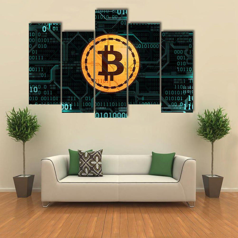 Bitcoin With Binary Code And Printed Circuit Board Multi Panel Canvas Wall Art 5 Pieces(B) / Medium / Canvas Tiaracle