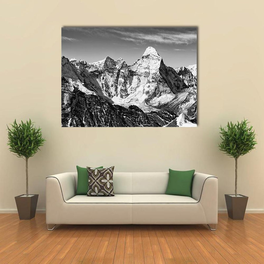 Black And White View Of Ama Dablam Multi Panel Canvas Wall Art 5 Pieces(A) / Medium / Canvas Tiaracle