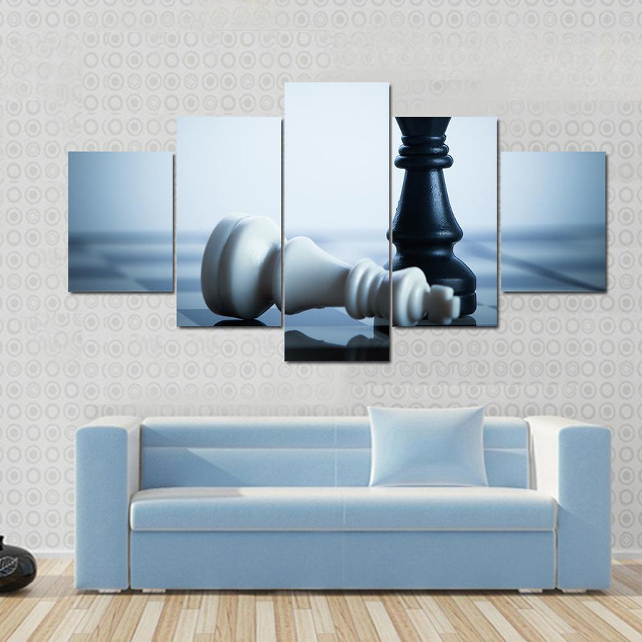 Black Chess Defeats White King On The Chess Board Canvas Panel Painting Tiaracle