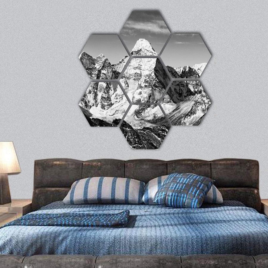 Black And White View Of Ama Dablam Hexagonal Canvas Wall Art 1 Hexa / Small / Gallery Wrap Tiaracle