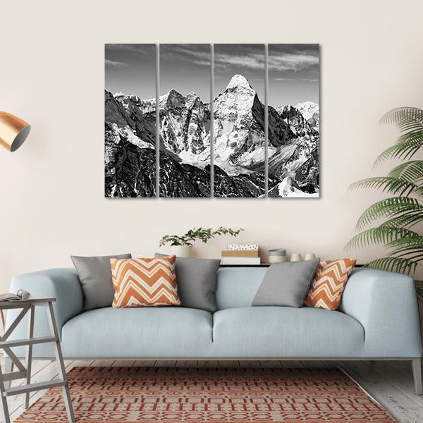 Black And White View Of Ama Dablam Multi Panel Canvas Wall Art 1 Piece / Small / Gallery Wrap Tiaracle