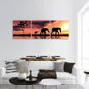 Black Elephant Silhouettes By A River Panoramic Canvas Wall Art Tiaracle
