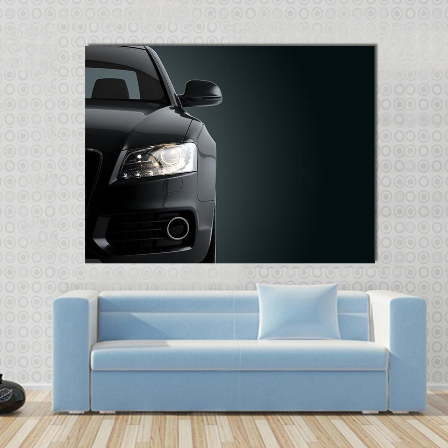 Generic Luxury Detail Black Sports Car Canvas Panel Painting Tiaracle