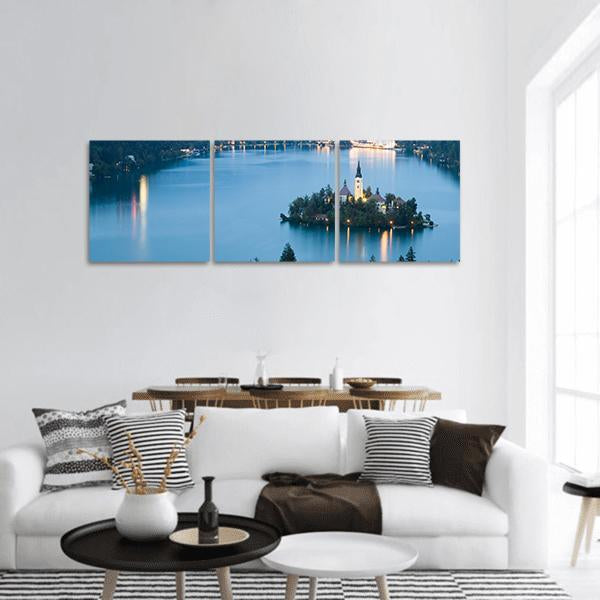 Bled Lake In Julian Alps Slovenia Panoramic Canvas Wall Art Tiaracle