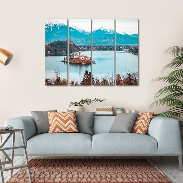 Bled Lake With Bled Castle Canvas Wall Art-1 Piece-Medium-Gallery Wrap-Tiaracle