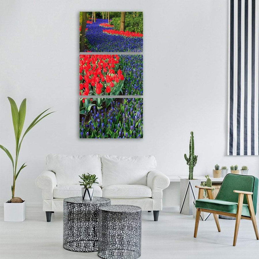 Blooming Blue Dutch Field Vertical Canvas Wall Art 1 Vertical / Small / Gallery Wrap Tiaracle
