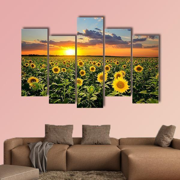 Field Of Blooming Sunflowers Multi Panel Canvas Wall Art 3 Pieces / Medium / Canvas Tiaracle
