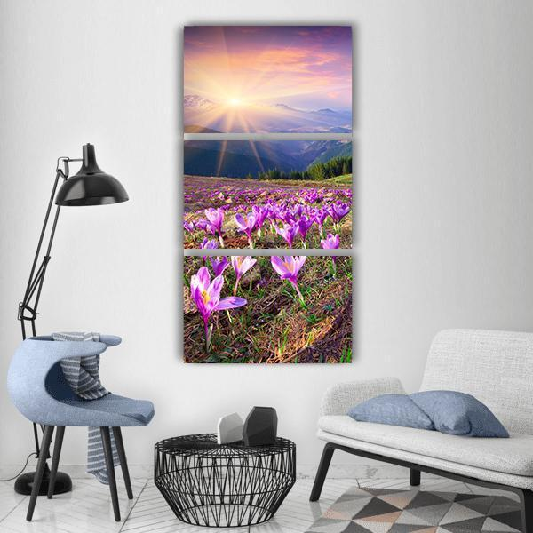 Blossom Of Crocuses At Spring Vertical Canvas Wall Art 1 Vertical / Small / Gallery Wrap Tiaracle
