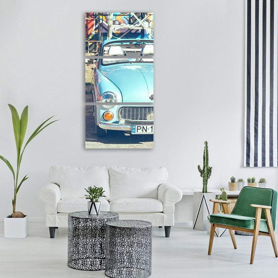 Blue Beetle Car In Poland Vertical Canvas Wall Art 1 Vertical / Small / Gallery Wrap Tiaracle