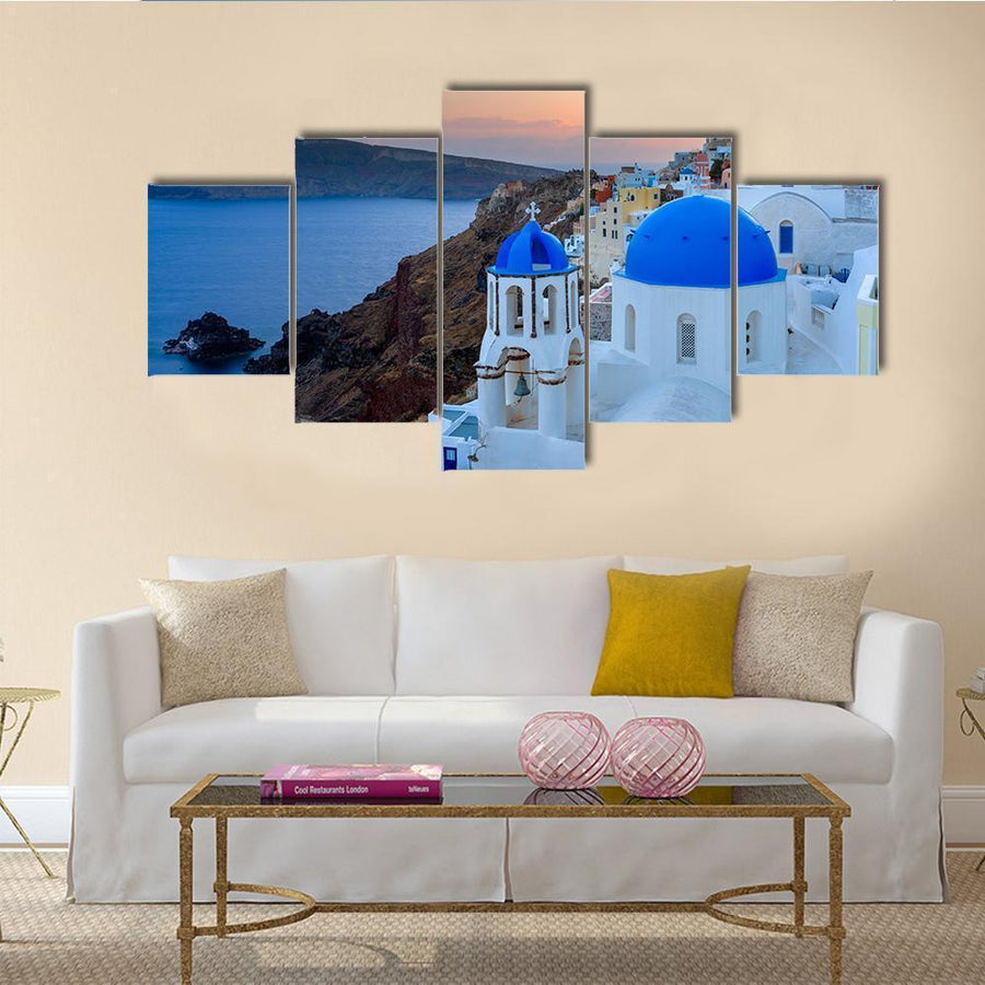Dusk Over Blue Domed Churches At Oia Santorini Canvas Panel Painting Tiaracle