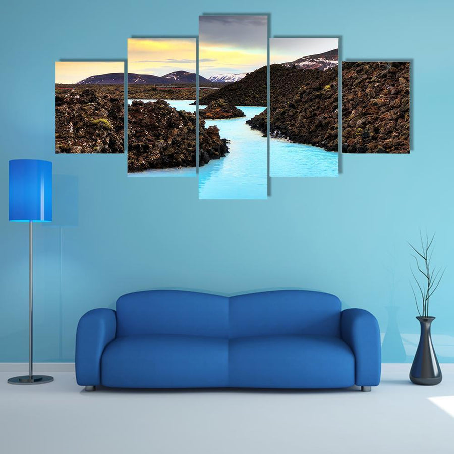 Blue Lagoon Waters In The Lava Field Multi Panel Canvas Wall Art 4 Pieces / Medium / Canvas Tiaracle