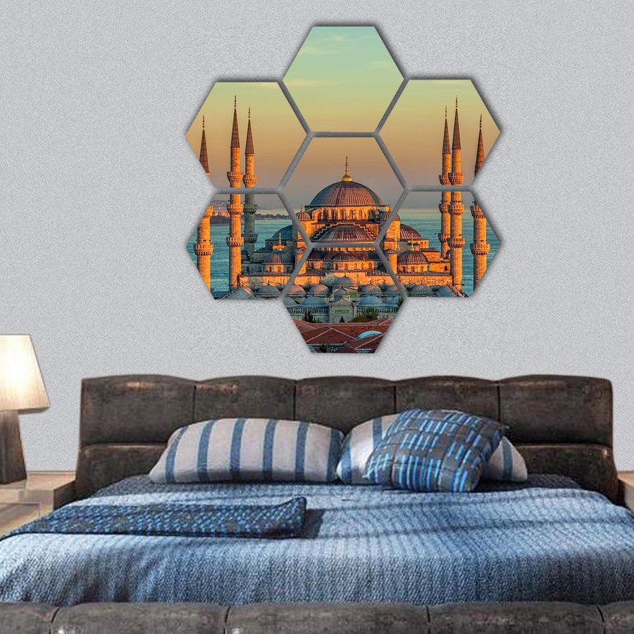 Blue Mosque At Glorious Sunset In Istanbul Hexagonal Canvas Wall Art 1 Hexa / Small / Gallery Wrap Tiaracle