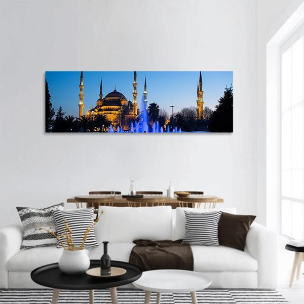 Blue Mosque At Istanbul Panoramic Canvas Wall Art 3 Piece / Small Tiaracle