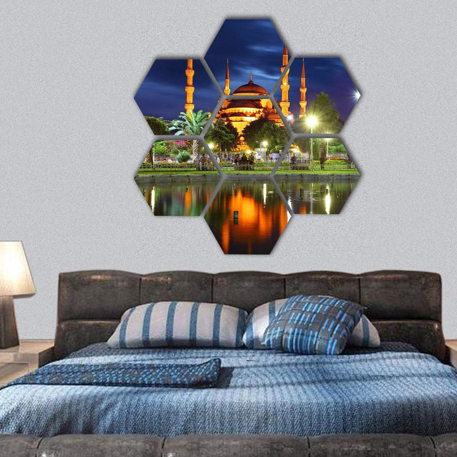 Blue Mosque In Istanbul At Night Hexagonal Canvas Wall Art 1 Hexa / Small / Gallery Wrap Tiaracle