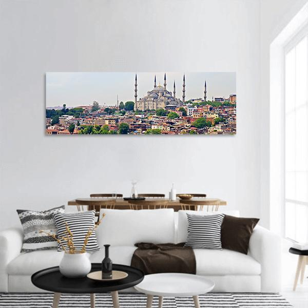 Blue Mosque In Istanbul Panoramic Canvas Wall Art Tiaracle