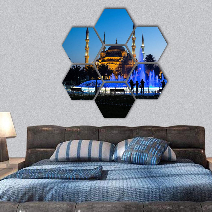 Blue Mosque In Istanbul With Dancing Fountain Hexagonal Canvas Wall Art 1 Hexa / Small / Gallery Wrap Tiaracle