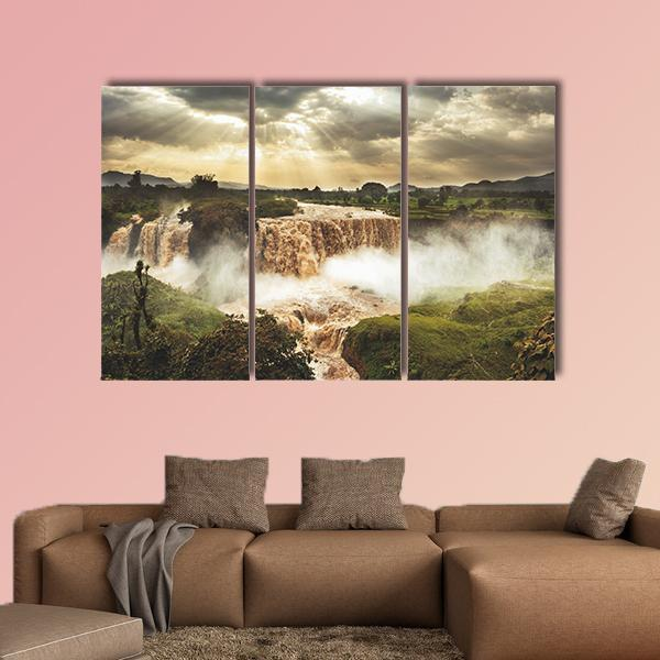 Blue Nile Falls In Ethiopia Multi Panel Canvas Wall Art 5 Pieces(B) / Medium / Canvas Tiaracle