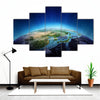 Blue Planet Earth From Space Canvas Wall Art-5 Star-Medium-Gallery Wrap-Tiaracle
