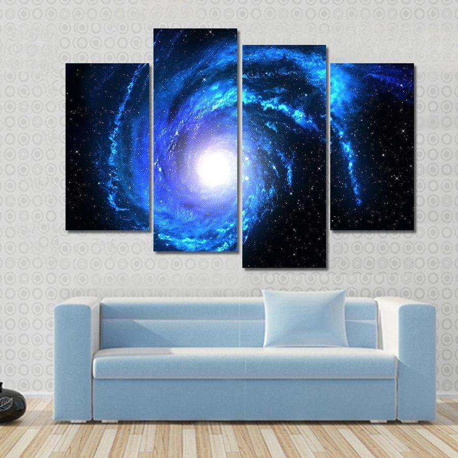 Distant Blue Spiral Galaxy Multi Panel Canvas Wall Art 3 Pieces / Small / Canvas Tiaracle