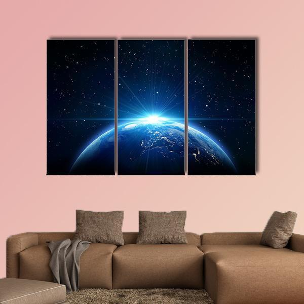 Blue Sunrise View Of Earth From Space Multi Panel Canvas Wall Art 4 Pieces / Medium / Gallery Wrap Tiaracle