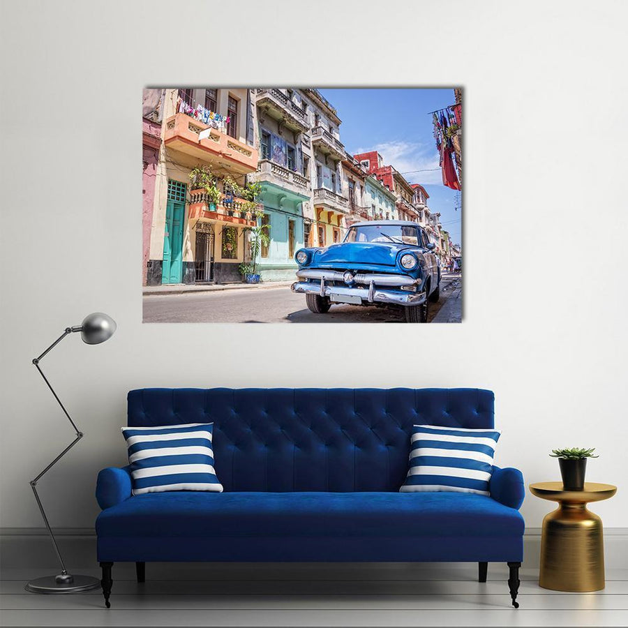 Blue Vintage Car Canvas Wall Art-4 Horizontal-Small-Gallery Wrap-Tiaracle
