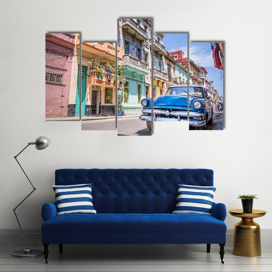 Blue Classic Vintage Car In Havana Canvas Panel Painting Tiaracle