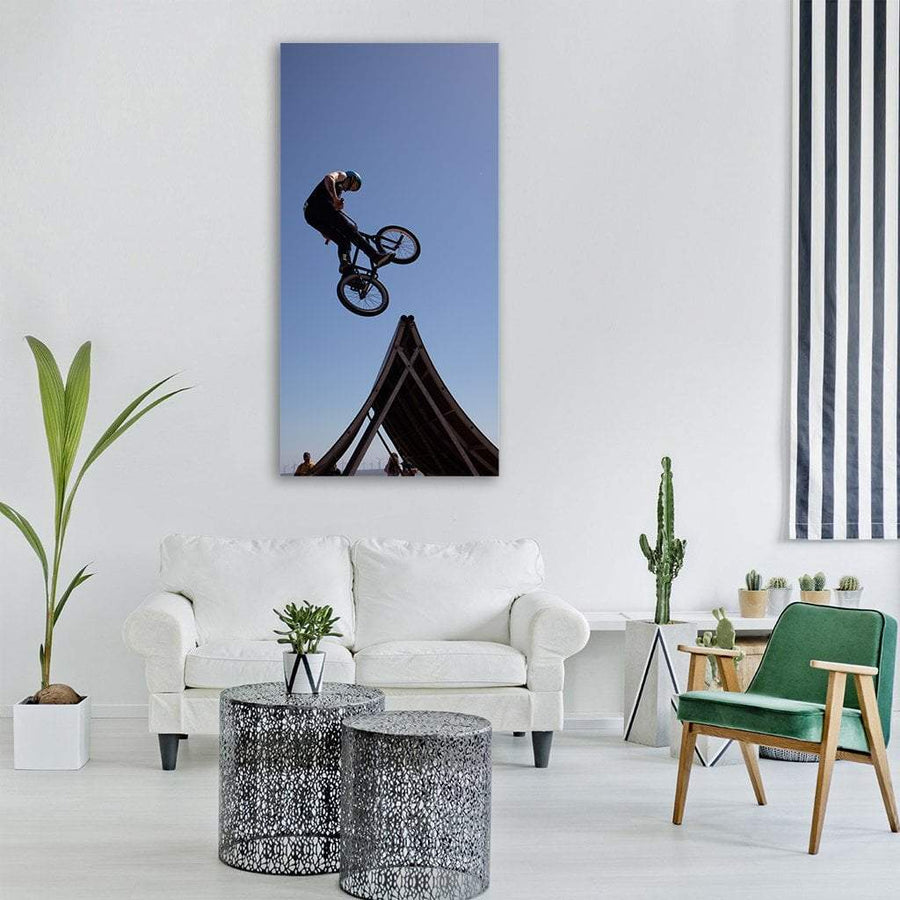 Bmx Bicycle Rider Vertical Canvas Wall Art 3 Vertical / Small / Gallery Wrap Tiaracle