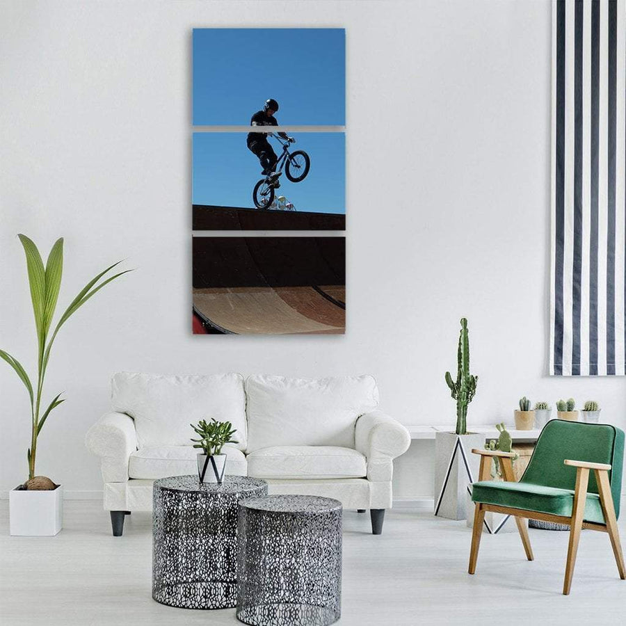 Bmx Bicycle Rider Vertical Canvas Wall Art 1 Vertical / Small / Gallery Wrap Tiaracle