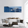 Boat In Deep Blue Water Of Santorini Panoramic Canvas Wall Art 3 Piece / Small Tiaracle