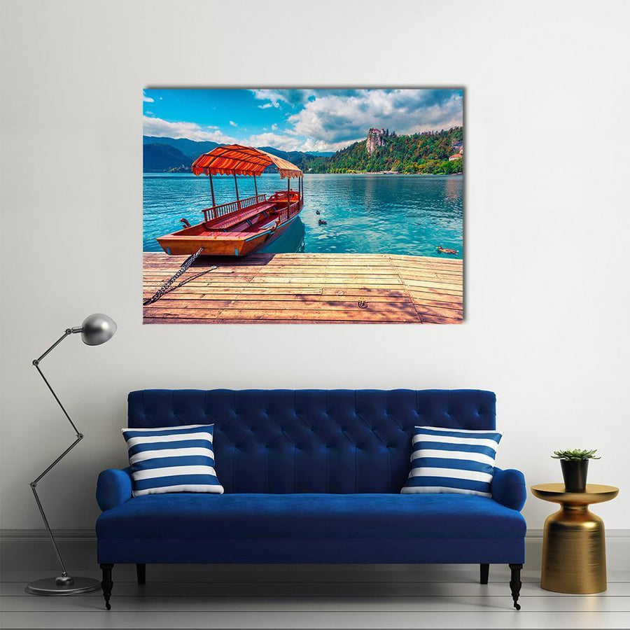 Boat In Lake Bled Canvas Wall Art-4 Horizontal-Small-Gallery Wrap-Tiaracle