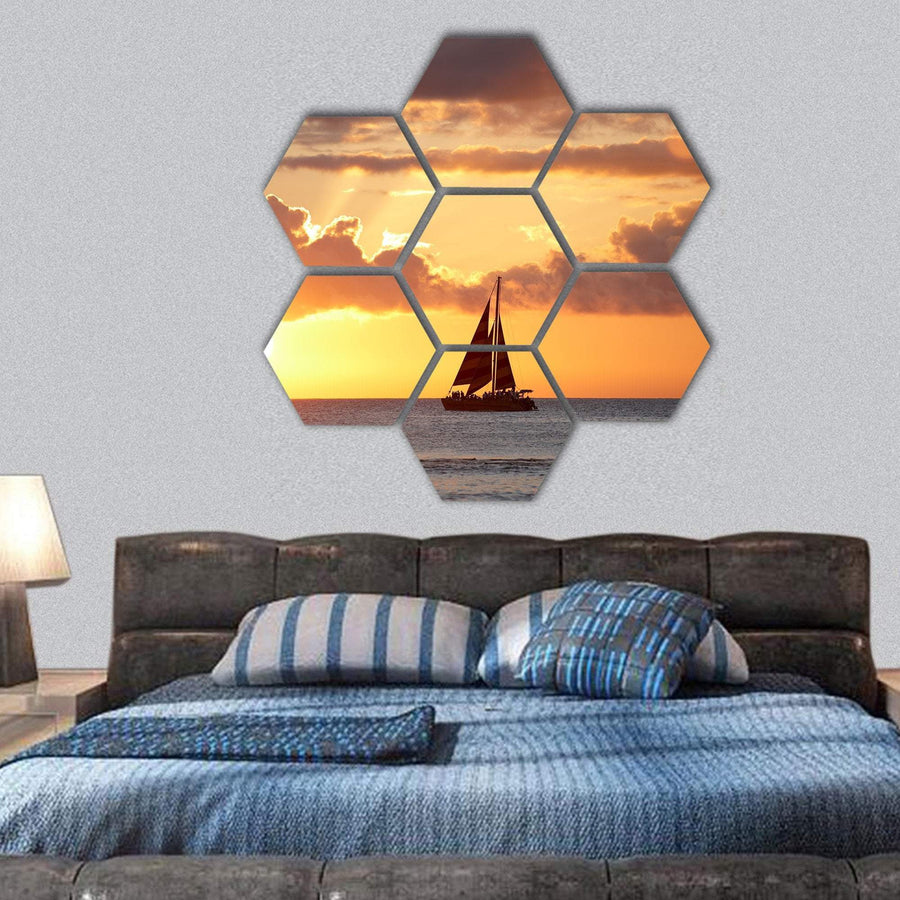 Boat In Ocean At Sunset Hexagonal Canvas Wall Art 1 Hexa / Small / Gallery Wrap Tiaracle