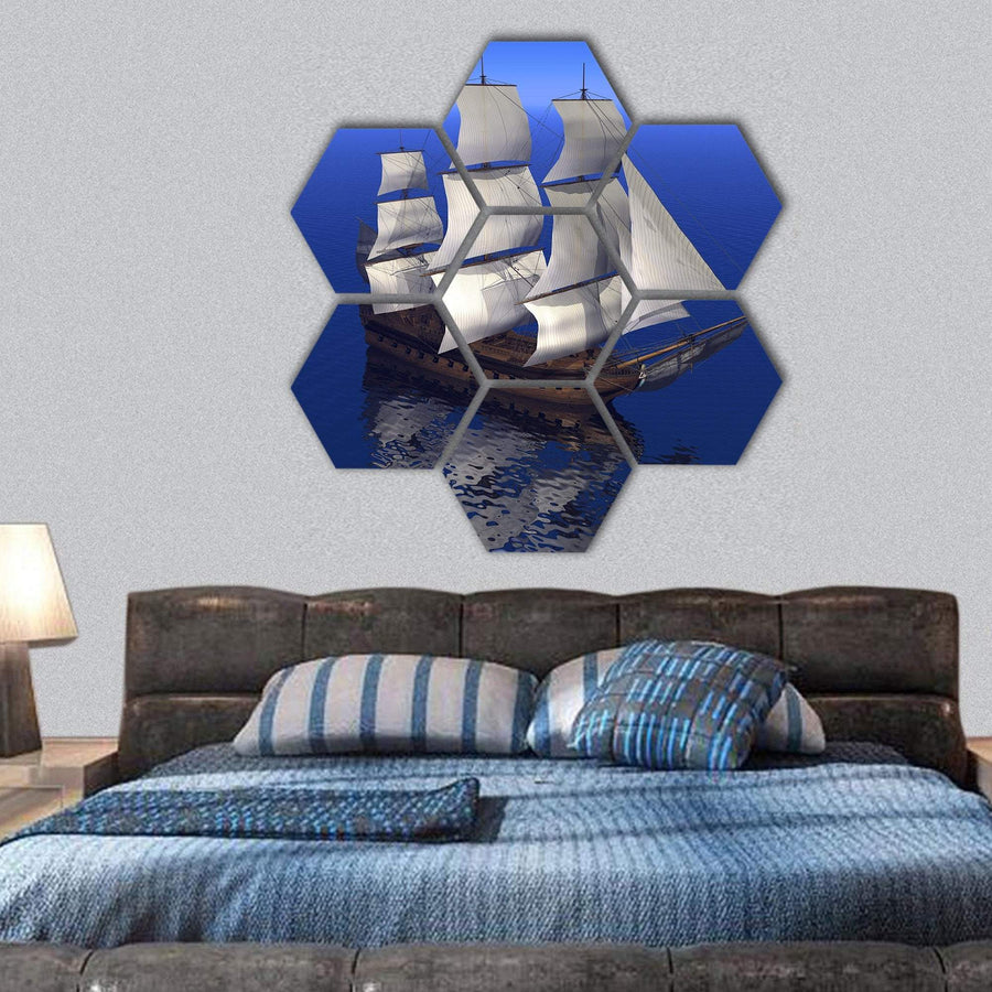 Boat Merchant In An Ocean Hexagonal Canvas Wall Art 1 Hexa / Small / Gallery Wrap Tiaracle
