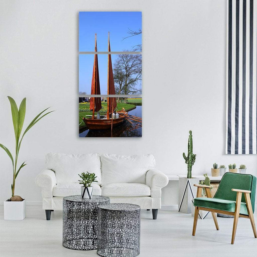 Boat Near Lake In Keukenhof Garden Holland Vertical Canvas Wall Art 1 Vertical / Small / Gallery Wrap Tiaracle