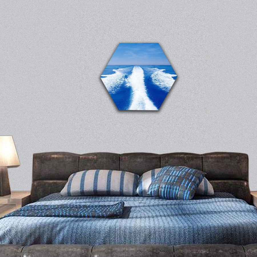 Boat Wake Prop Wash On Blue Ocean Sea Hexagonal Canvas Wall Art 7 Hexa / Small / Gallery Wrap Tiaracle