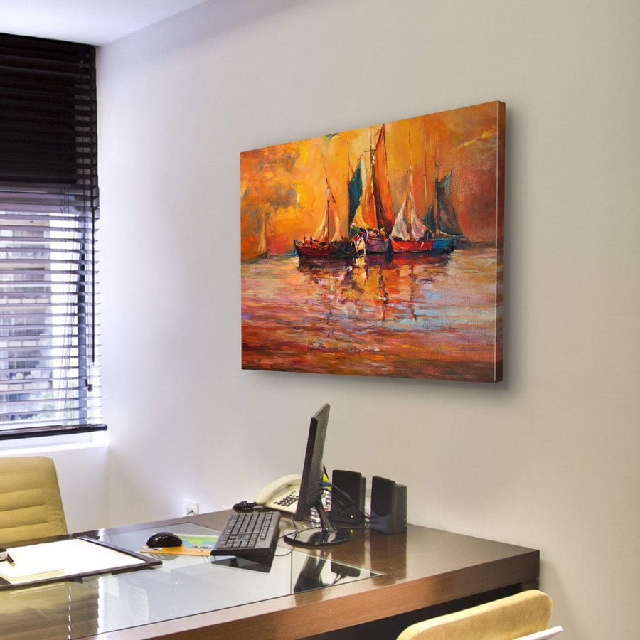 Beautiful Boats And Sea On Canvas Panel Painting Tiaracle