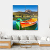 Boats In Lake, Durmitor Multi Panel Canvas Wall Art-4 Square-Small-Gallery Wrap-Tiaracle