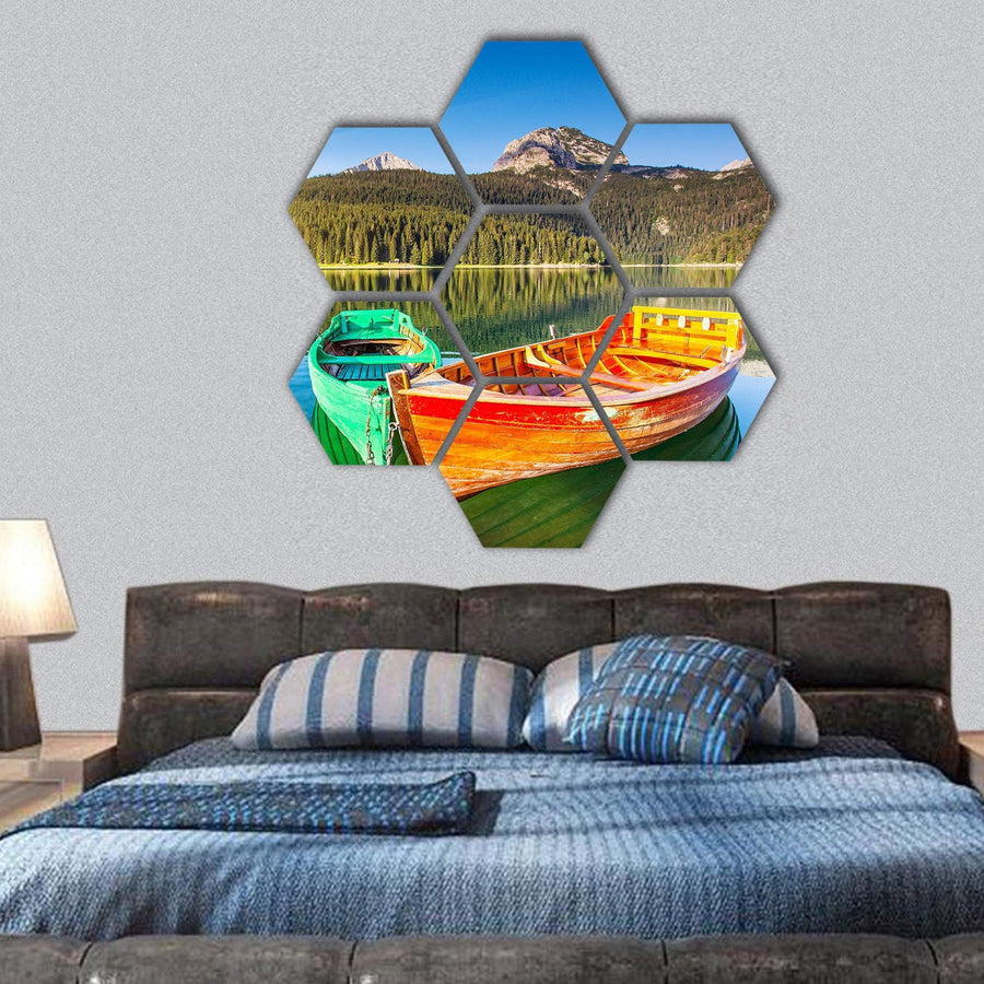Boats In Lake In Durmitor National Park Hexagonal Canvas Wall Art 1 Hexa / Small / Gallery Wrap Tiaracle