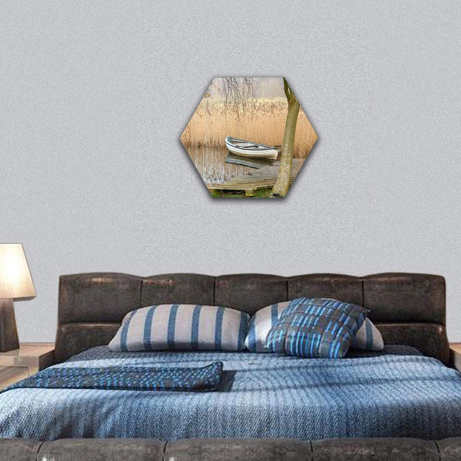Boats On A Lake In Denmark Hexagonal Canvas Wall Art 7 Hexa / Small / Gallery Wrap Tiaracle