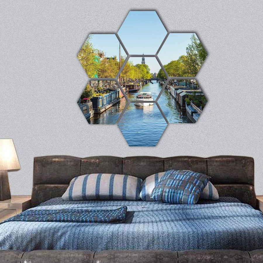 Boats On Dutch Canal In Amsterdam Hexagonal Canvas Wall Art 1 Hexa / Small / Gallery Wrap Tiaracle