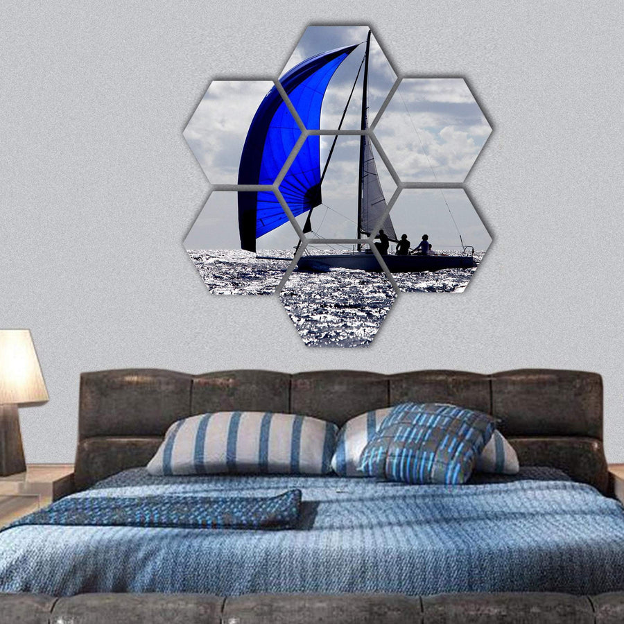 Boats With Spinnakers Open Hexagonal Canvas Wall Art 1 Hexa / Small / Gallery Wrap Tiaracle