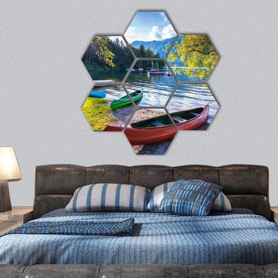 Bohinj Lake With Boats Hexagonal Canvas Wall Art 1 Hexa / Small / Gallery Wrap Tiaracle