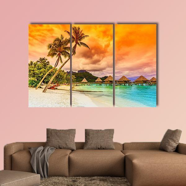 Bora Bora Island French Polynesia Multi Panel Canvas Wall Art 4 Pieces / Medium / Canvas Tiaracle