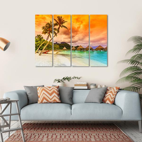 Bora Bora Island, French Multi Panel Canvas Wall Art 1 Piece / Small / Gallery Wrap Tiaracle