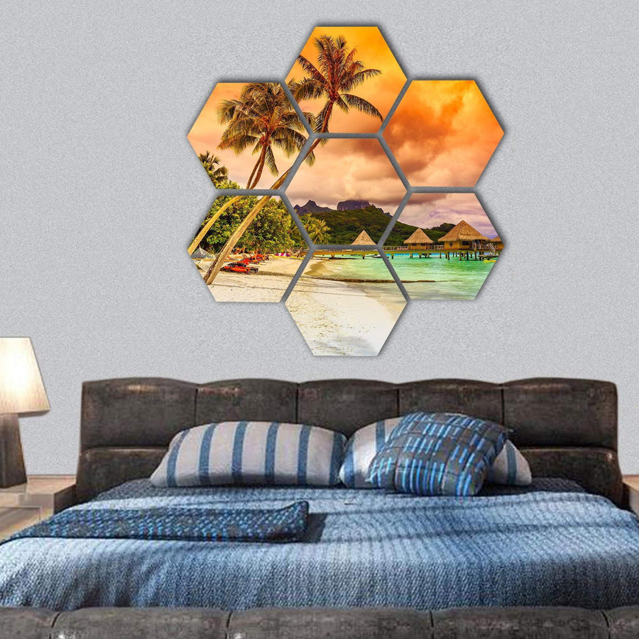 Bora Bora Island In French Polynesia Hexagonal Canvas Wall Art 1 Hexa / Small / Gallery Wrap Tiaracle