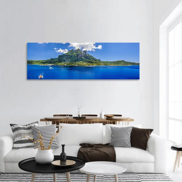 Bora Bora Mountain In Sea Panoramic Canvas Wall Art Tiaracle