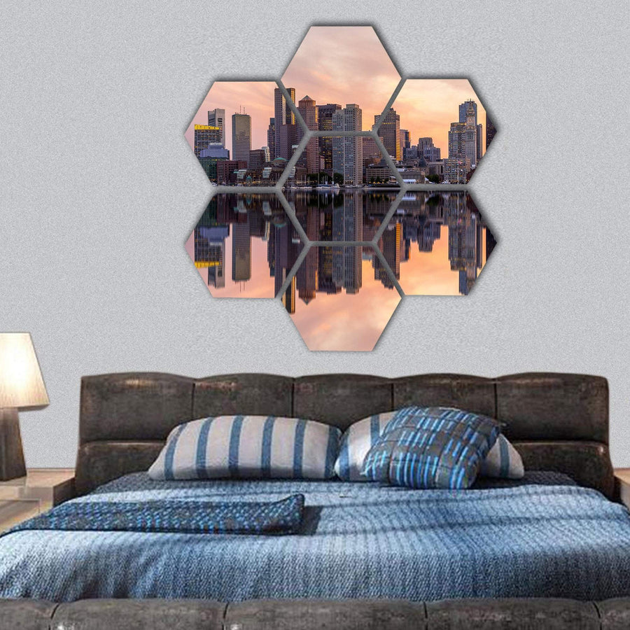 Boston Downtown Skyline Hexagonal Canvas Wall Art 1 Hexa / Small / Gallery Wrap Tiaracle