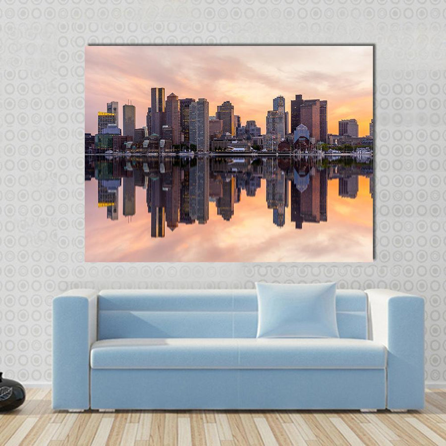 Boston Downtown Skyline Canvas Panel Painting Tiaracle