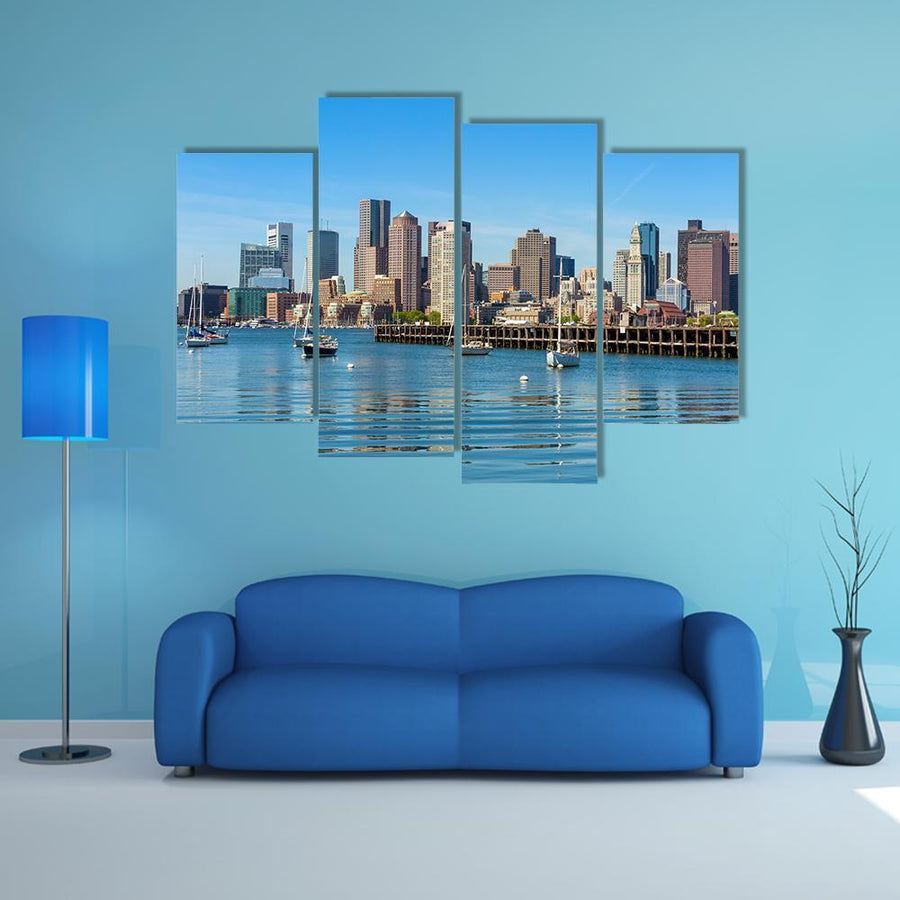 Boston Skyline Seen From Piers Park Multi Panel Canvas Wall Art 3 Pieces / Medium / Canvas Tiaracle